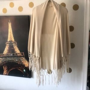 Lovestitch cream shawl with tassels